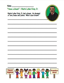 MLK Martin Luther King, Jr. I Have a Dream Common Core Writing (color version)