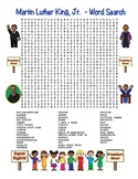 MLK Martin Luther King, Jr. Word Search Maze! Hard Level! (color  & black line)