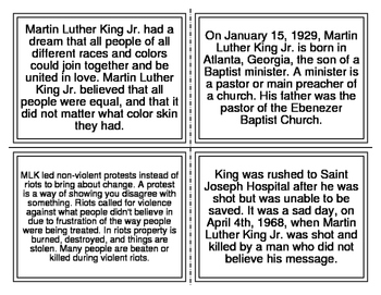 Martin Luther King Jr. Picture Match Task Cards (MLK Day)