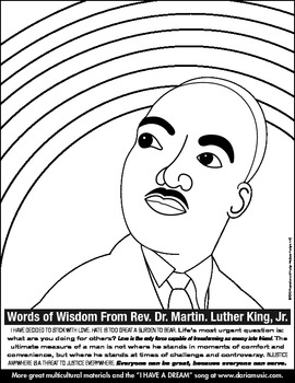 "MLK ""Rainbow And Popular Quotes"" Coloring Page for Older Children"