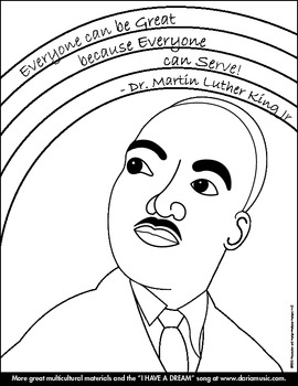 """MLK Rainbow"" Coloring Page for Younger Children by World ..."