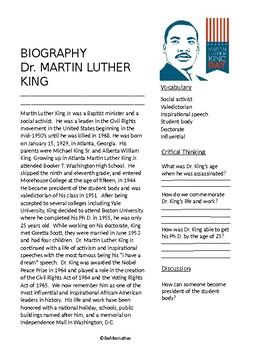 MLK Short Biography