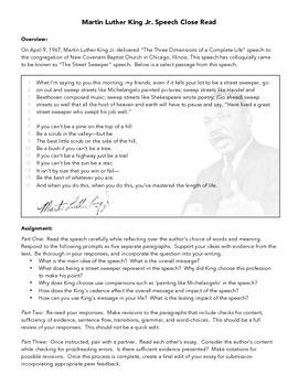MLK Street Sweeper Speech Close Read