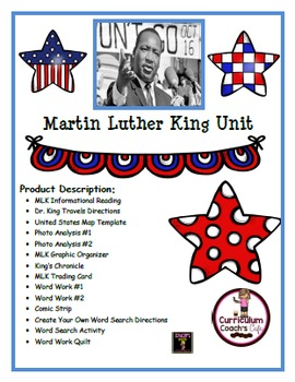 Martin Luther King Jr. Unit:  12 Different Engaging Activities