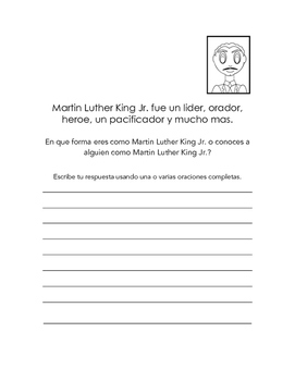 MLK homework packet in Spanish
