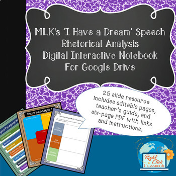 "MLK's ""I Have a Dream"" Digital Interactive Notebook for Rhetorical Analysis"
