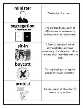 MLK timeline and vocabulary