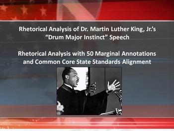 "MLK's ""Drum Major Instinct"" Speech Common Core Rhetorical Analysis w/Annotations"