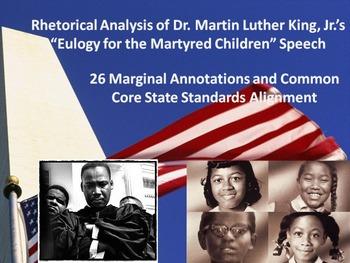 """MLK's """"Eulogy for the Martyred Children"""" Speech Common Core Rhetorical Analysis"""