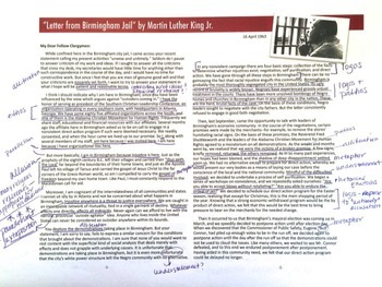 "MLK's ""Letter from Birmingham Jail"" Rhetorical Analysis Close"