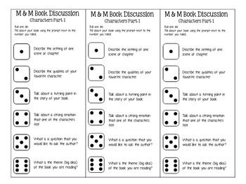 M&M Bookmarks: Discussion Prompts for Following Characters  Part 1
