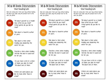M&M Bookmarks with Discussion Prompts: Your Life as a Reader