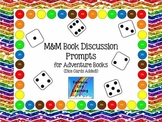 M&M Bookmarks with Discussion Prompts for Adventure Books (Dice Cards Added)