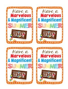 M&M Candy Tag for End of the Year