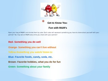 M&M Get to Know You Activity