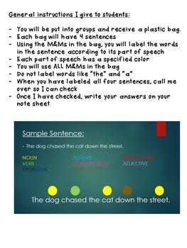 M&M Parts of Speech Activity
