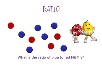 RATIO, PERCENTAGE, FRACTIONS: M&M POWERPOINT LESSON WITH QUESTIONS