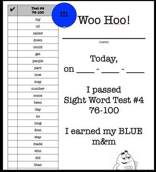 M&M Sight Word Assessment #1-400