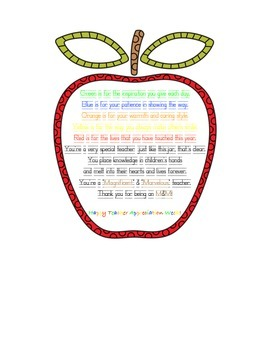 M&M Teacher Appreciation Poem