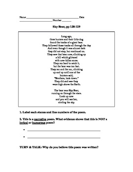 MMH Treasures Poem Sky Bear Comprehension Questions