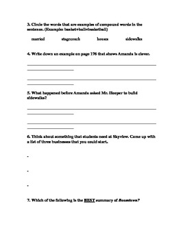 MMH Treasures Story Boomtown Part 2 Comprehension Questions