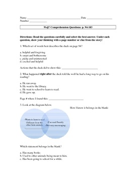 MMH Treasures Story Wolf! Comprehension Questions