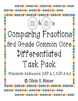 M&M's Differentiated Comparing Fractions Pack - 3rd Grade