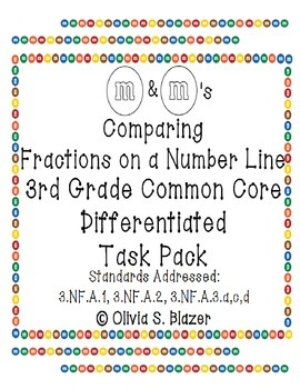 M&M's Differentiated Comparing Fractions on a Number Line Pack - 3rd Common Core