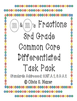 M&M's Differentiated Fractions Pack - 3rd Grade Common Core