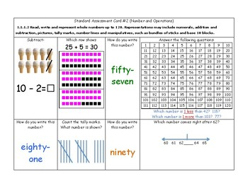 MN Math Standard Assessment Cards for First Grade