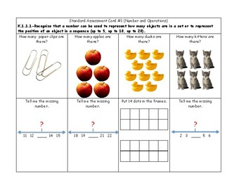 MN Math Standard Assessment Cards for Kindergarten