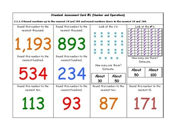 MN Math Standards Assessment Cards for Second Grade