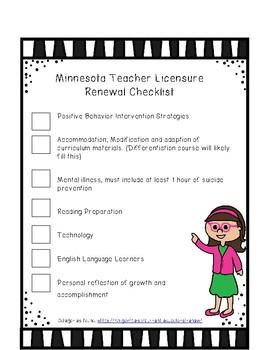 MN Teacher Licensure Renewal Checklist