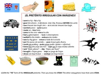 SPANISH MNEMONICS FOR IRREGULAR PRETERITE