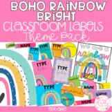 MODERN BRIGHT BOHO RAINBOW Editable Name Tags, Labels, Pos