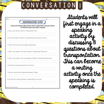 Transport ESL/ELL Unit Reading Passages, Speaking and Writing activities