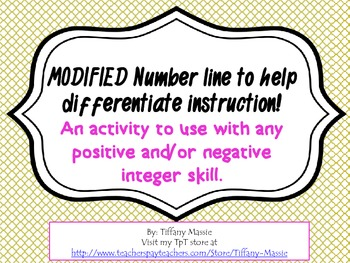 """MODIFIED"" number line for students with special needs"
