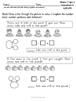 MODULE 1 TOPIC H First Grade EUREKA Math Subtraction Word Problems