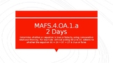 MODULE 2: MAFS.4.OA.1.a - 2 Day Powerpoint Lesson with worksheets