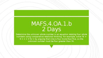 MODULE 2: MAFS.4.OA.1.b - 2 Day Powerpoint Lesson with worksheets