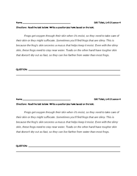 Grade 3 ELA MODULE 2A Unit 2 Lesson 1, 3 and 4 exit tickets