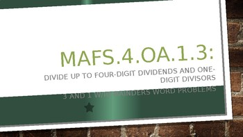 MODULE 3: MAFS.4.OA.1.3 - 3 Day Powerpoint Lesson with worksheets