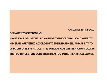 MOHS SCALE OF HARDNESS CRYPTOGRAM GRADES 4-8