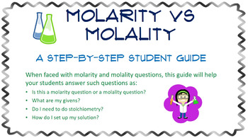 MOLARITY and MOLALITY- A Step-By-Step Student Guide for Solving Problems