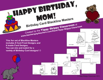 Brilliant Mom Birthday Card Printables By Yippy Skippy Classroom Tpt Personalised Birthday Cards Veneteletsinfo