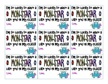 MON-STAR Welcome Gift Tags for Students