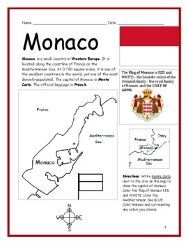 MONACO - Printable handout with simple map and flag