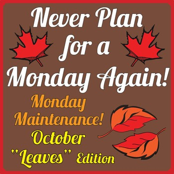 """Special Education: Monday Maintenance 2.0 October """"Leaves"""""""