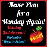 "FREE Life Skills in MONDAY MAINTENANCE 1.0 September ""Back to School"" Ed."