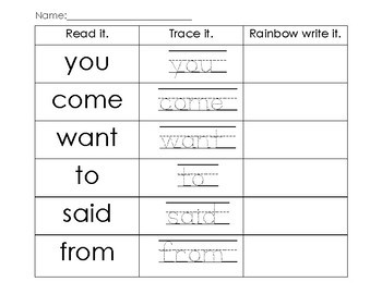 MONDO First Grade Read It, Trace It, Rainbow Write-Look and Say Words